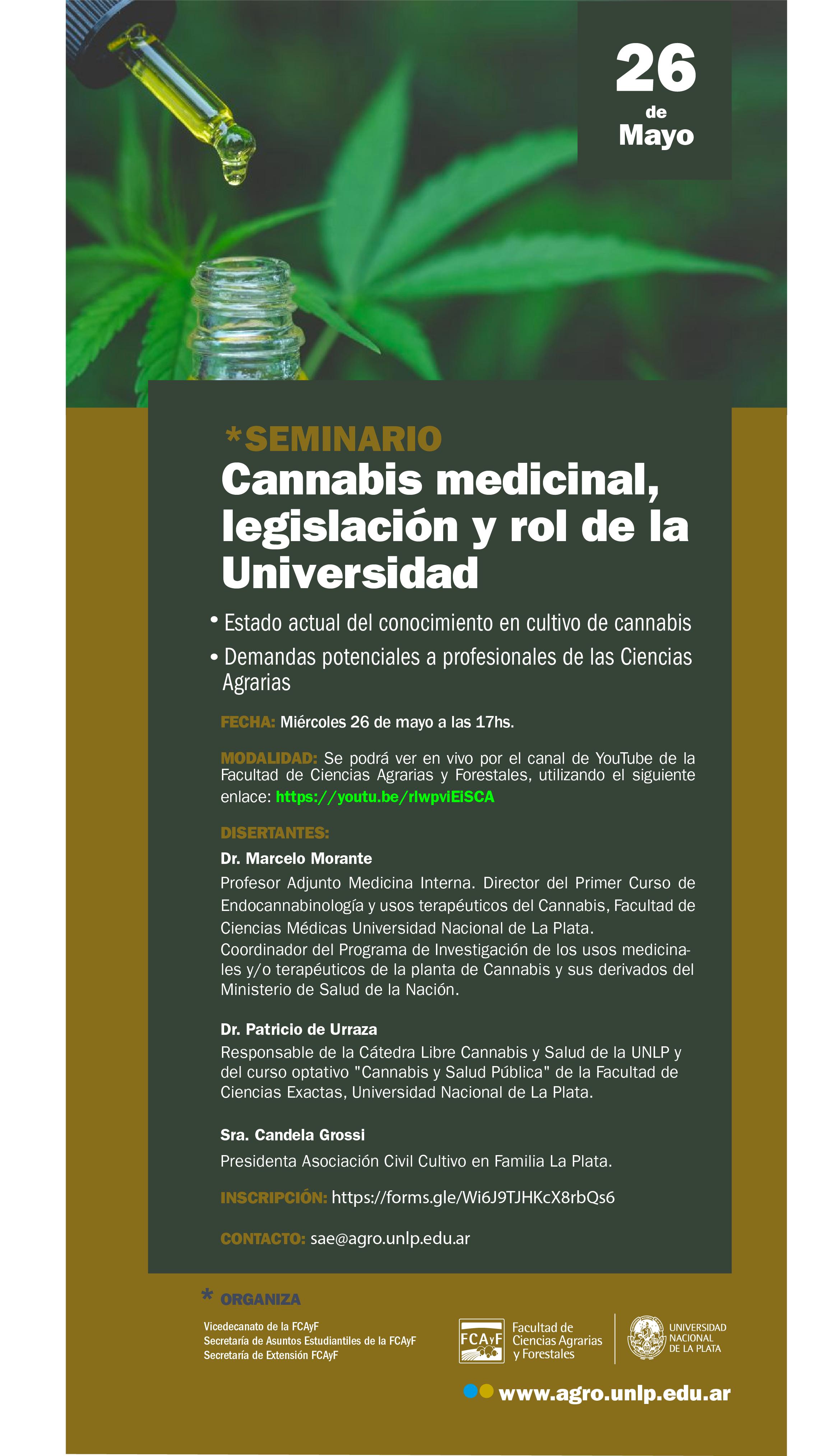 Seminario:  Cannabis medicinal, legislación y rol de la Universidad.