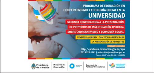 Segunda Convocatoria a la presentación de Proyectos de Investigación Aplicada sobre Cooperativismo y Economía Social