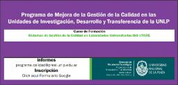 Curso de Formación: Sistemas de Gestión de la Calidad en Laboratorios Universitarios ISO 17025