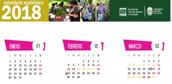 Calendario Académico 2018 para imprimir