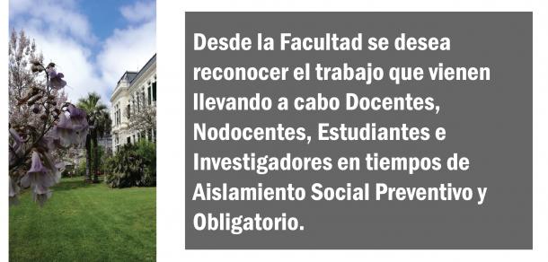 La Facultad en tiempos de Aislamiento Social, Preventivo y Obligatorio