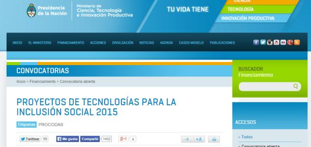 Convocatoria 2015 Proyectos de Tecnologías para la Inclusión Social 2015