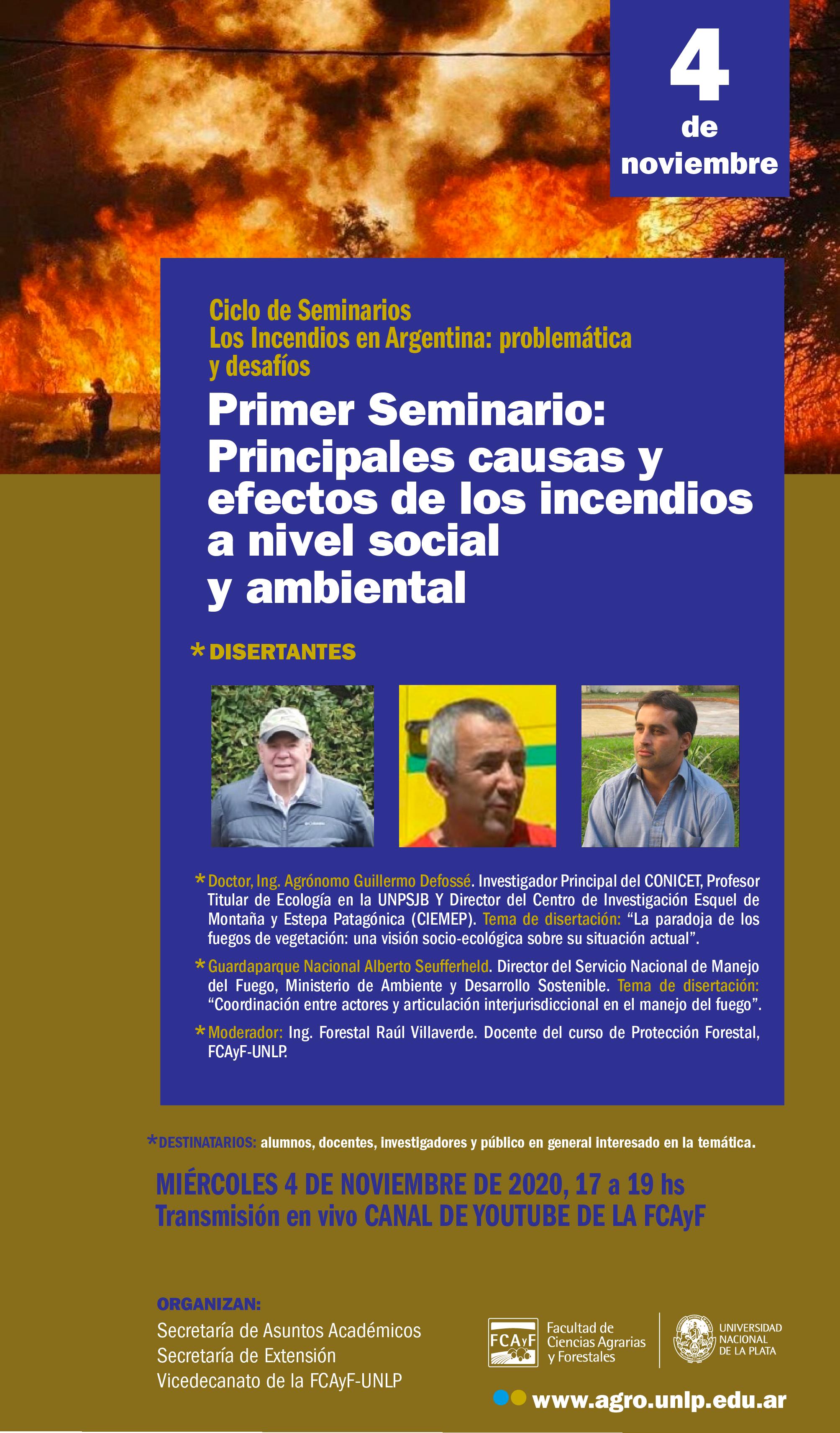 Primer Seminario: Principales causas y efectos de los incendios a nivel social y ambiental