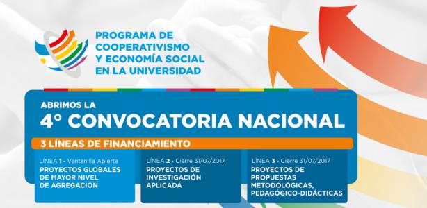 Cuarta Convocatoria Nacional a la presentación de Proyectos sobre Cooperativismo y Economía Social en la Universidad.